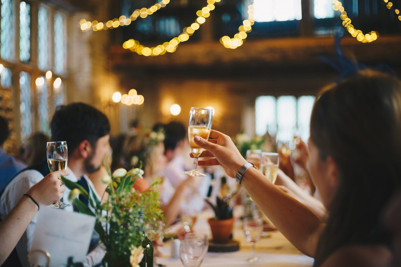 Champagne toast at wedding