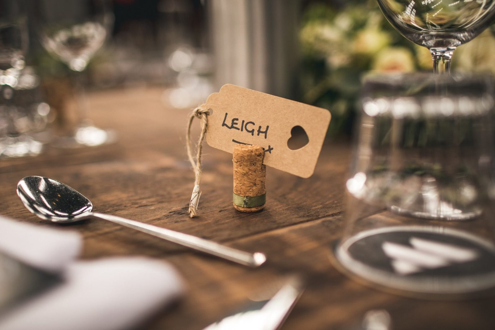 Cork wedding placer name holder