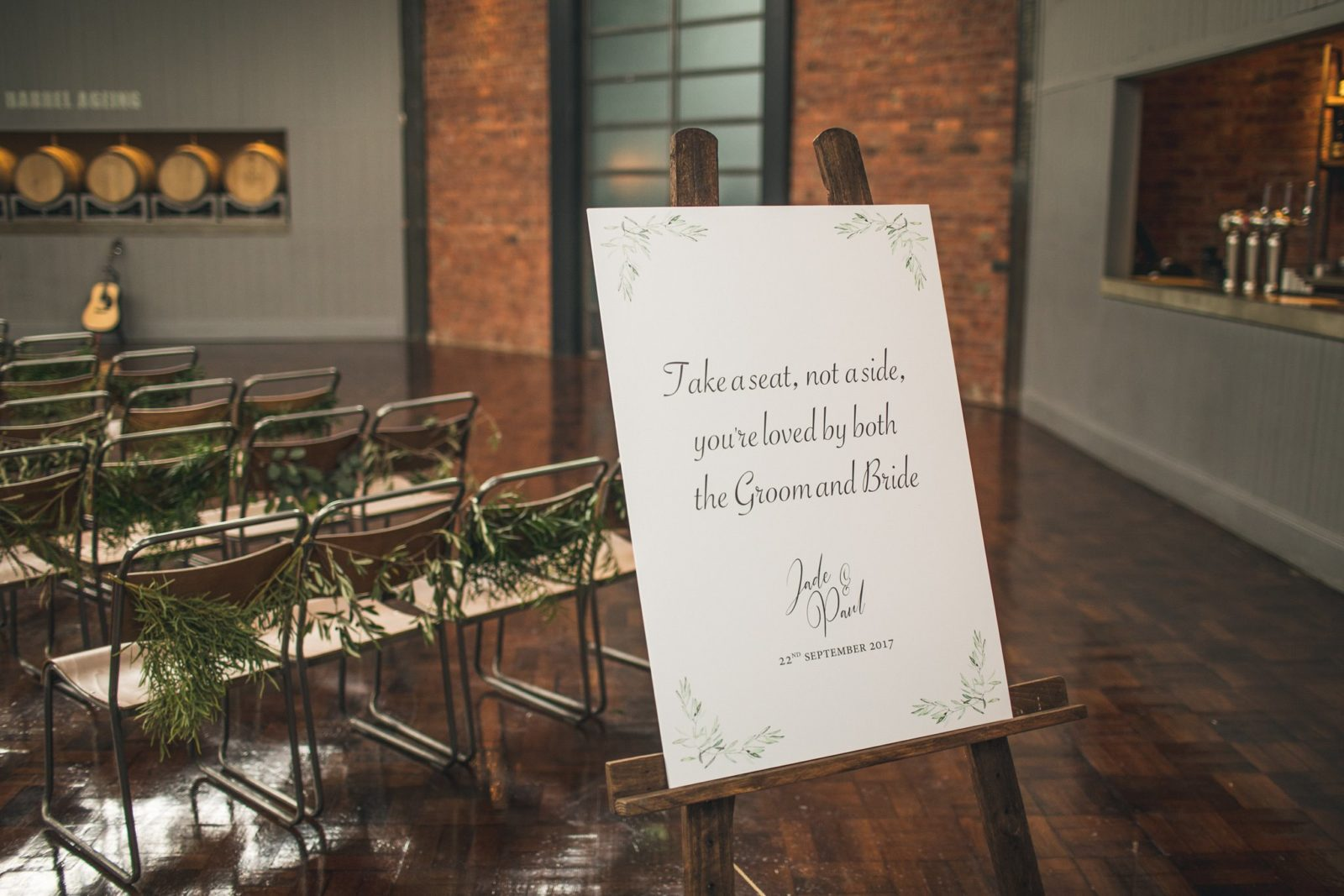 Take a seat, not a side sign for wedding