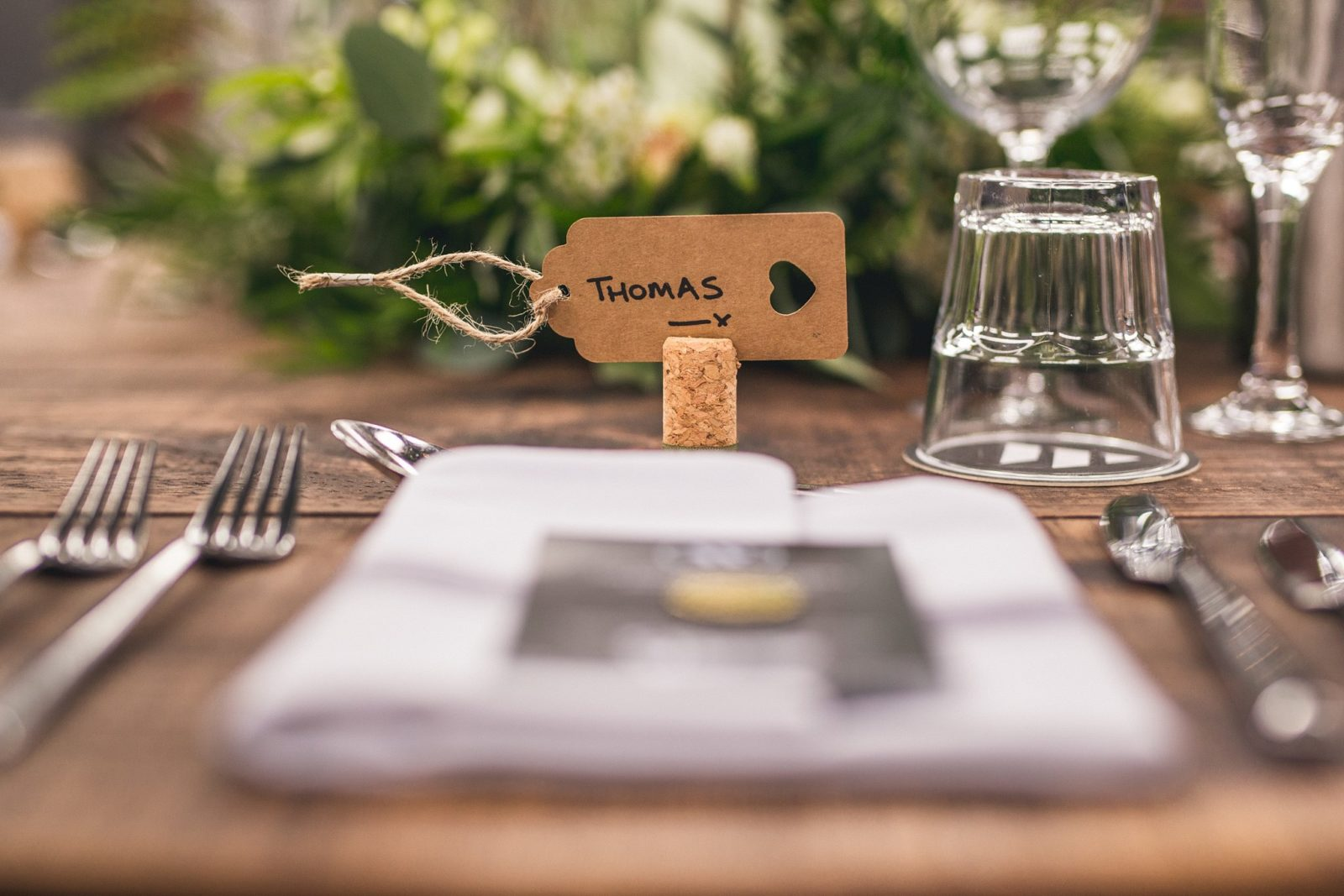 Place card with cork