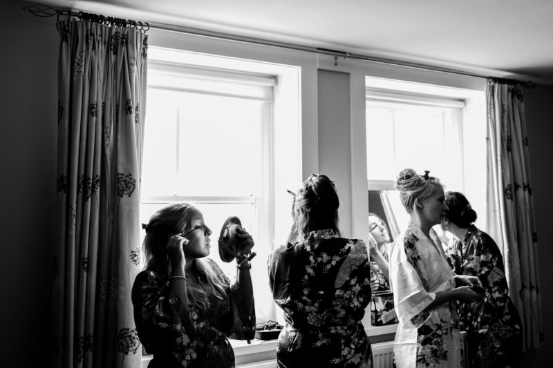 Bridal prep black and white
