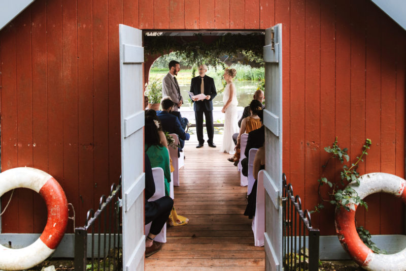 Wedding ceremony in boat house