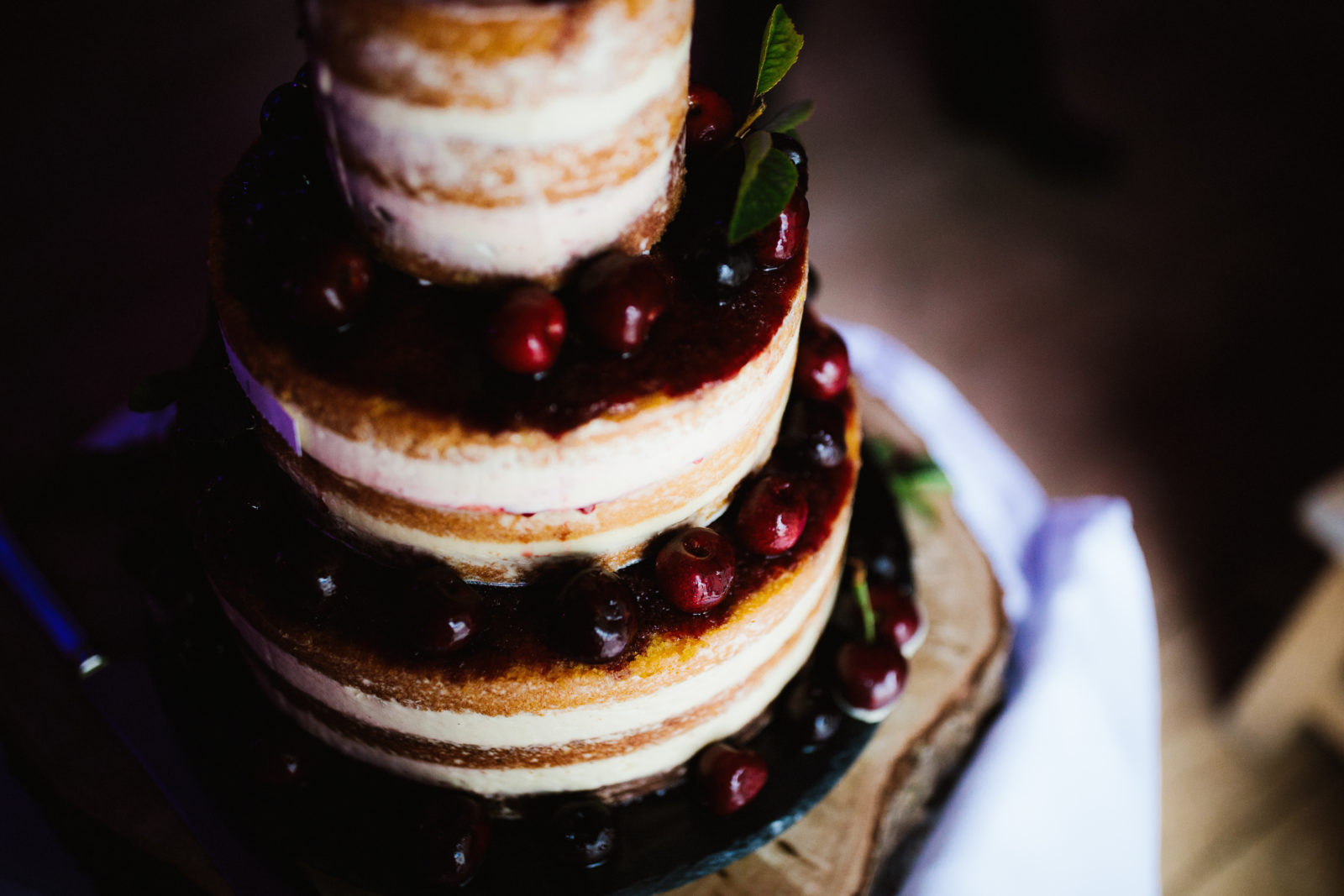 Naked cherry wedding cake