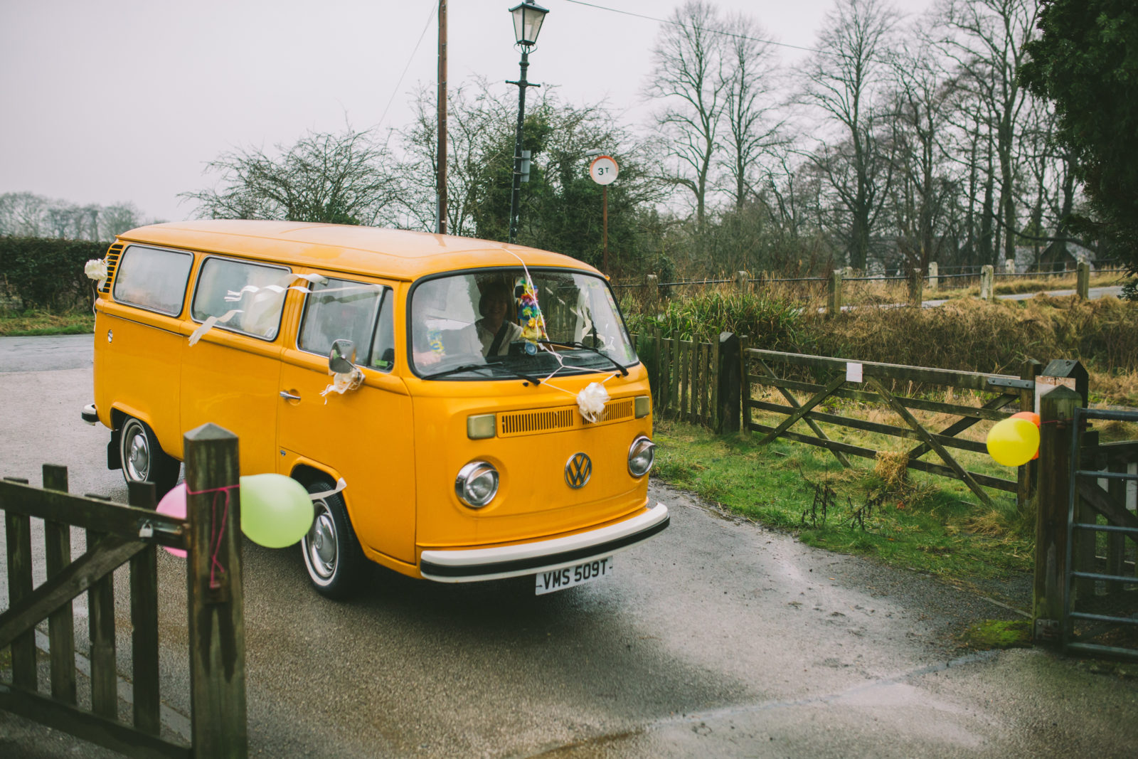 Bright yellow VW campervan