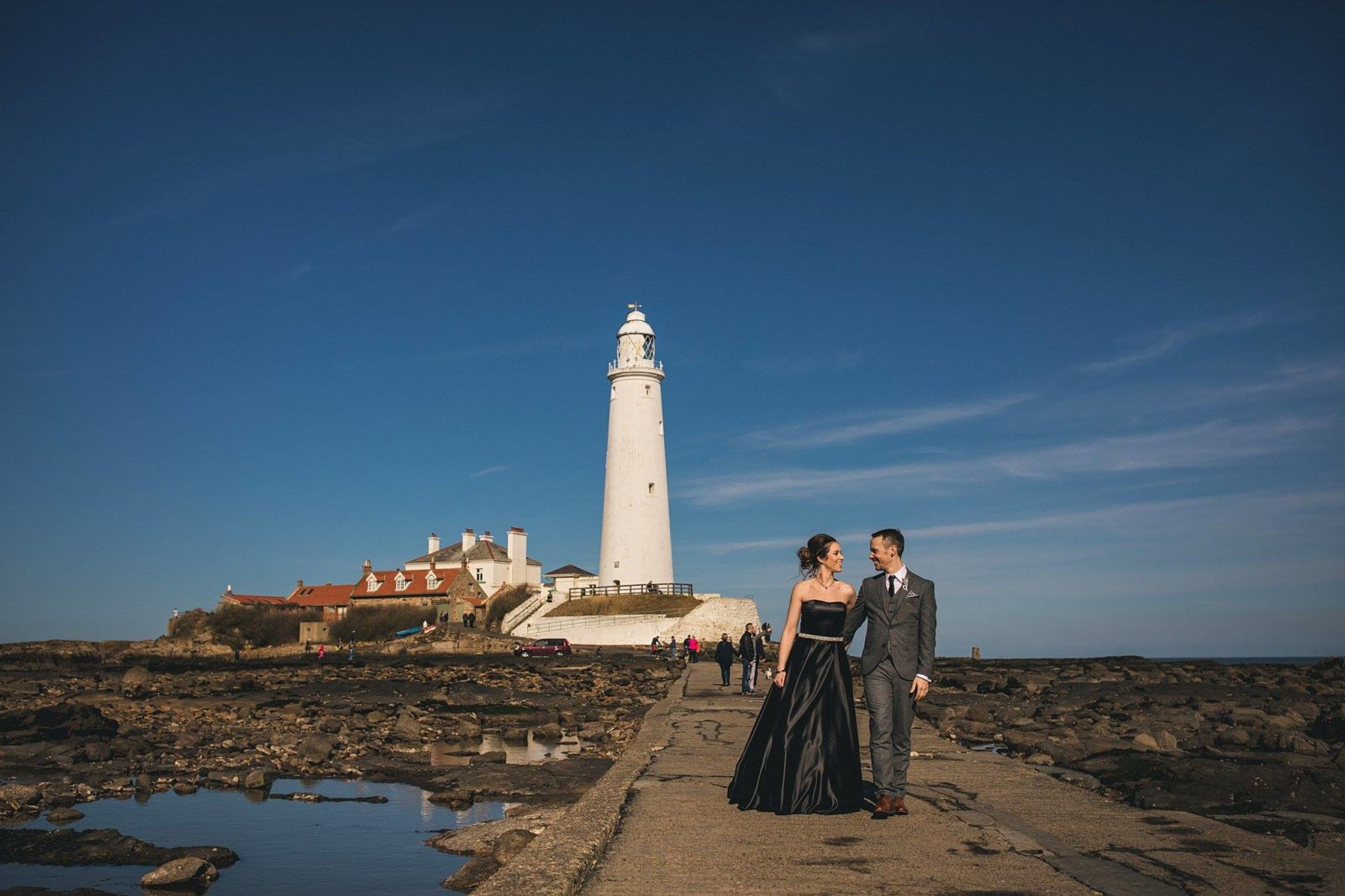 Black wedding dress St Marys lighthouse Whitley Bay