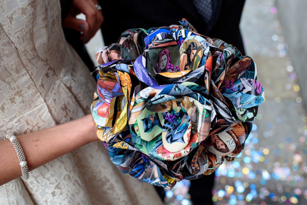 unusual wedding bouquets - comic book flowers