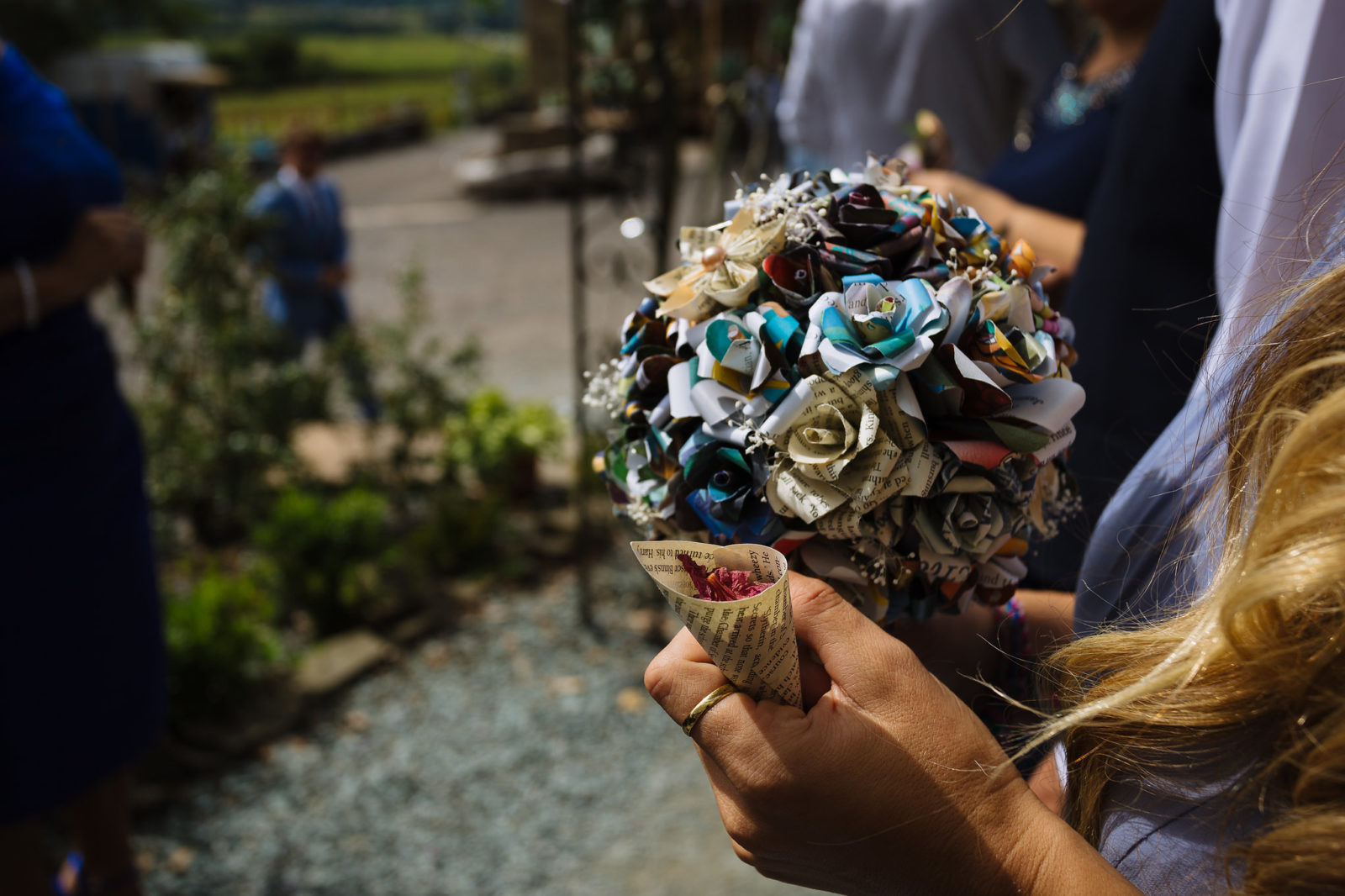 unusual wedding bouquet - paper flowers