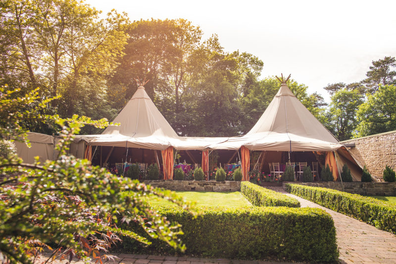 Gardens and yurts at Woodhill Hall Northumberland by Andy Hudson Photography