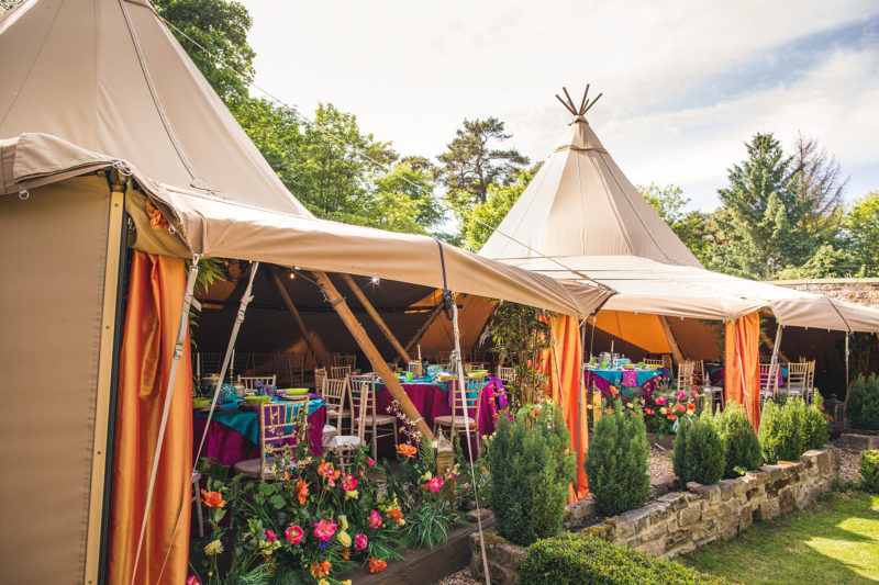 Colourful yurts at Woodhill Hall Northumberland by Andy Hudson Photography