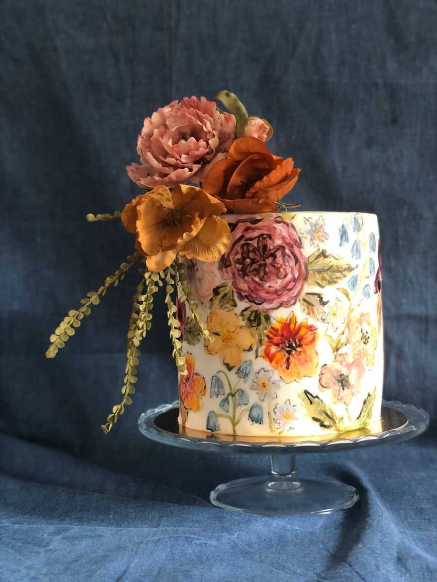 hand painted flowers cake