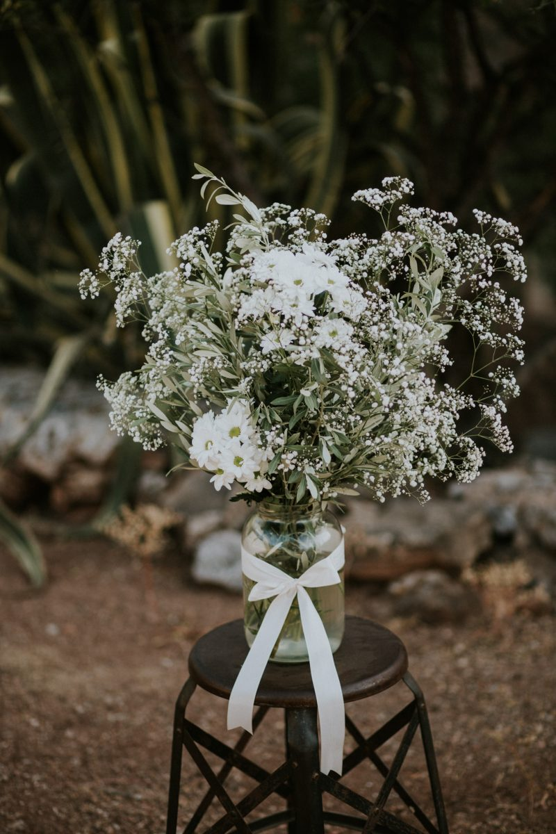 White flowers in vase - Mallorcan wedding