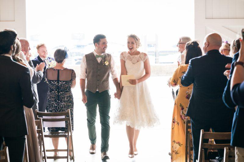 three quarter length wedding dress at the Chainstore London wedding