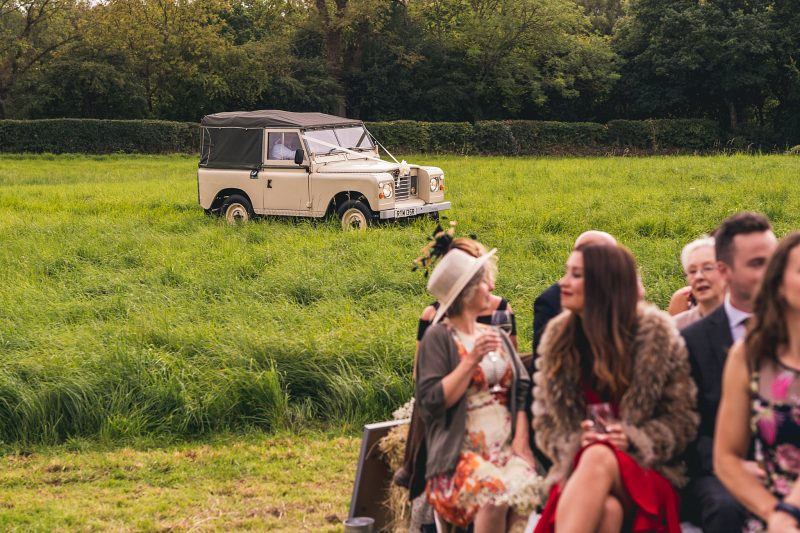 Land Rover Defender wedding car outdoor wedding North East England