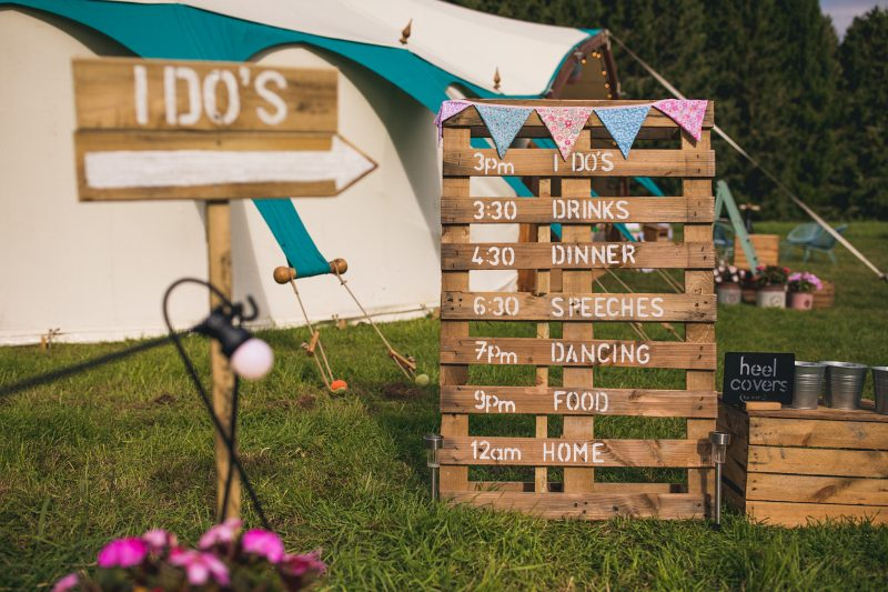 Wedding running order crate DIY outdoor wedding