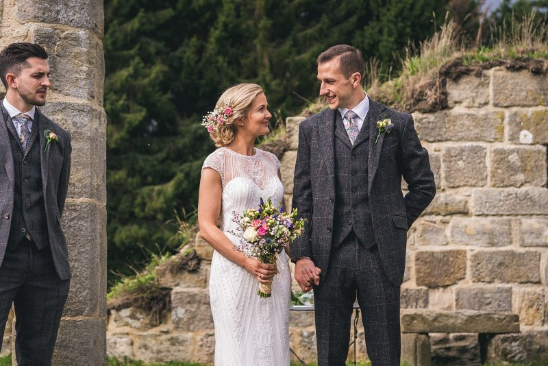 Gypsophila pink rose hair crown wild wedding bouquet boho rustic wedding grey suit Andy Hudson Photography