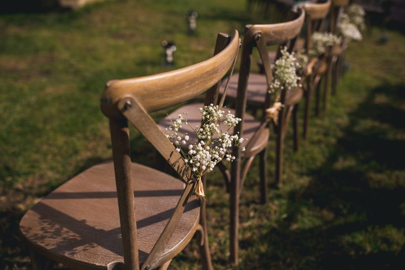 Wooden chairs decorated gypsophila