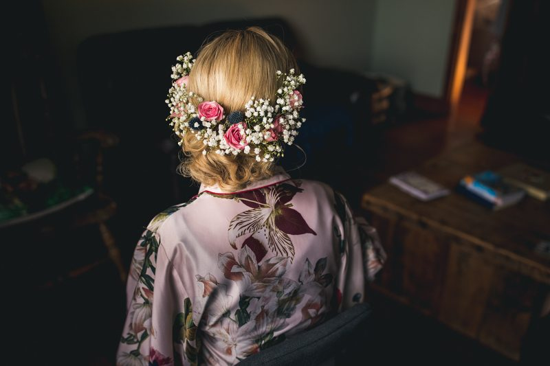 Bridal updo flowers gypsophila pink roses