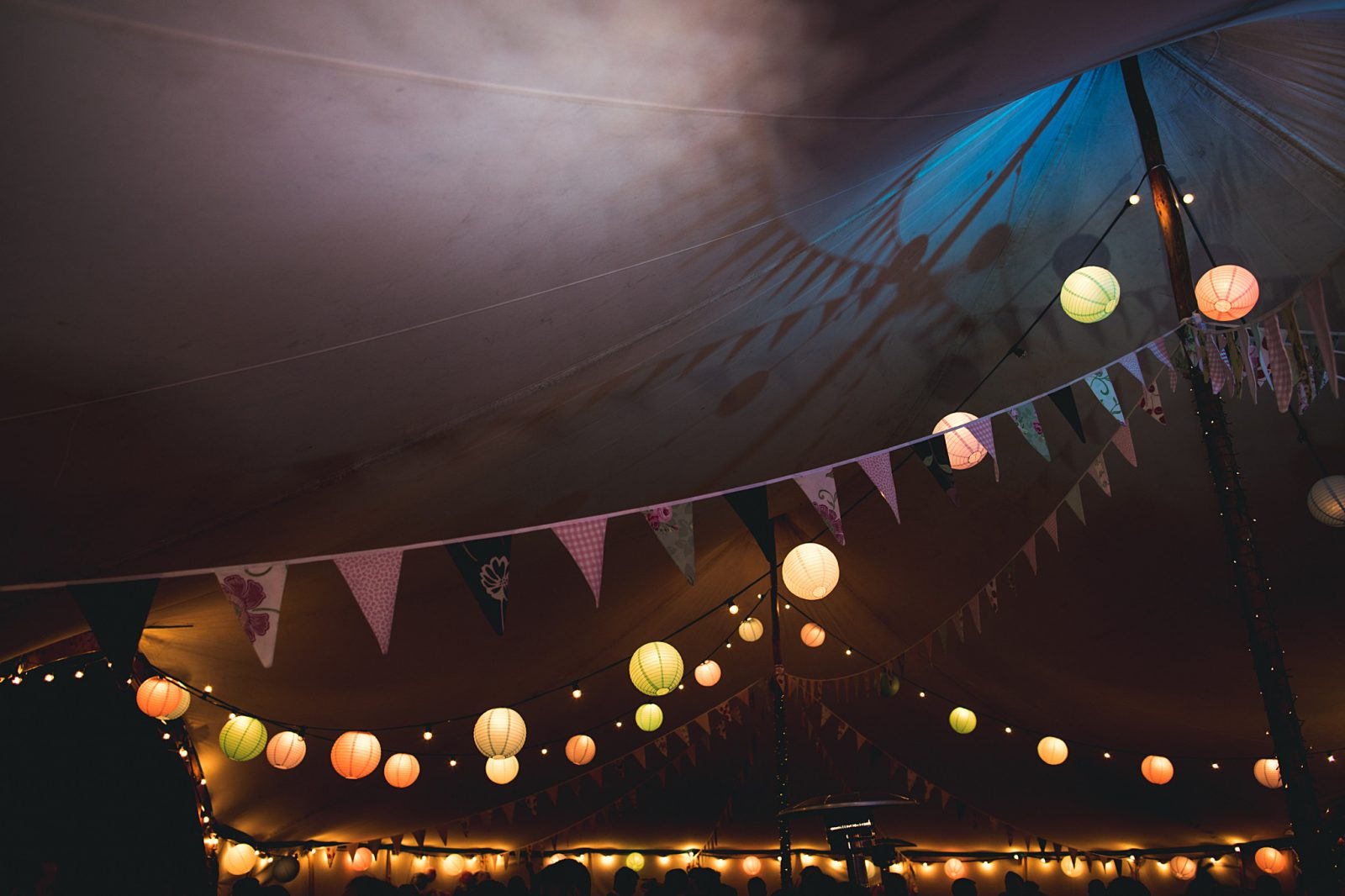 bunting lanterns tent outdoor wedding