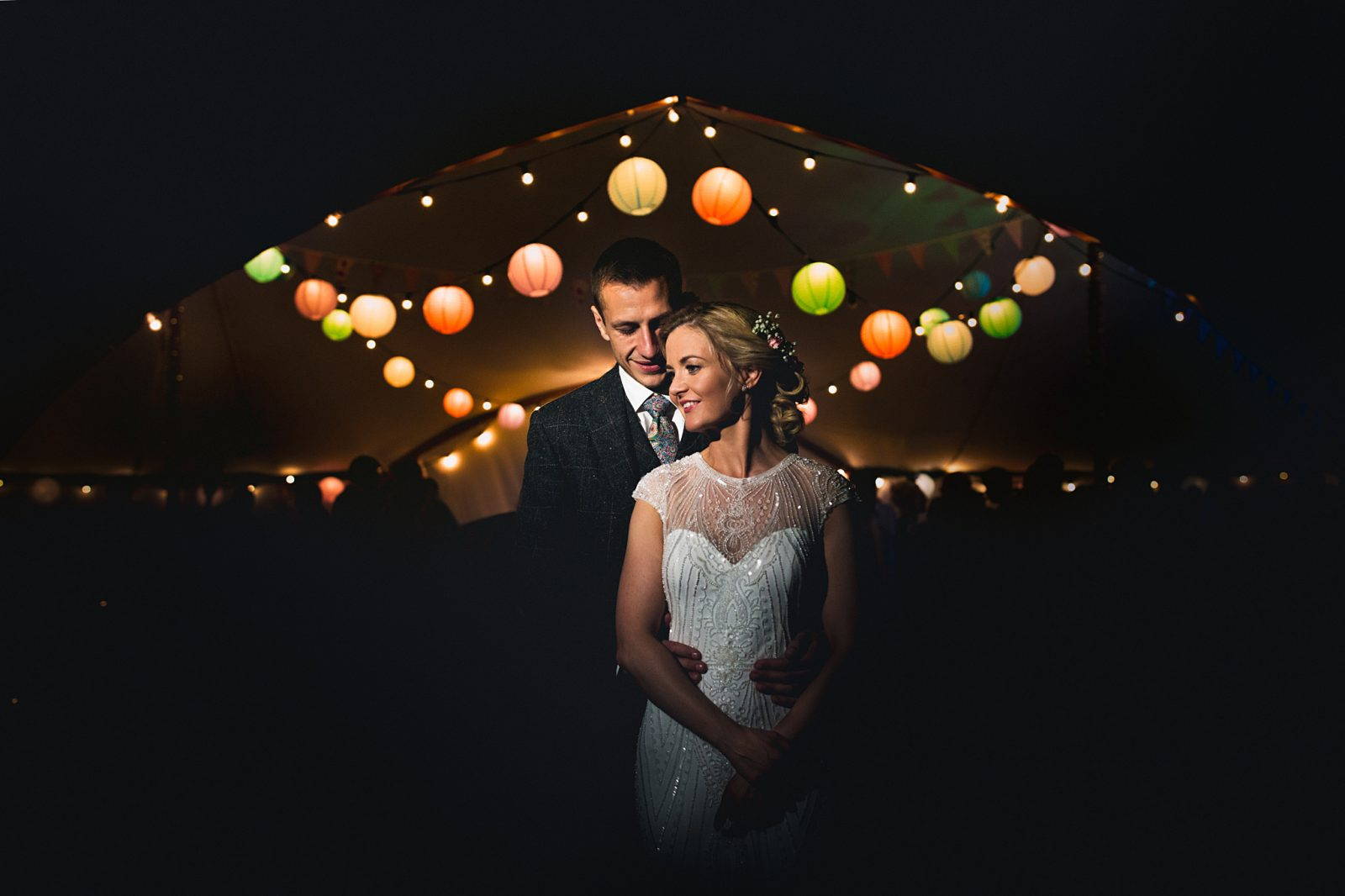 Rosa Clara beaded wedding dress paper lanterns wedding night Low Friarside Farm County Durham Andy Hudson Photography