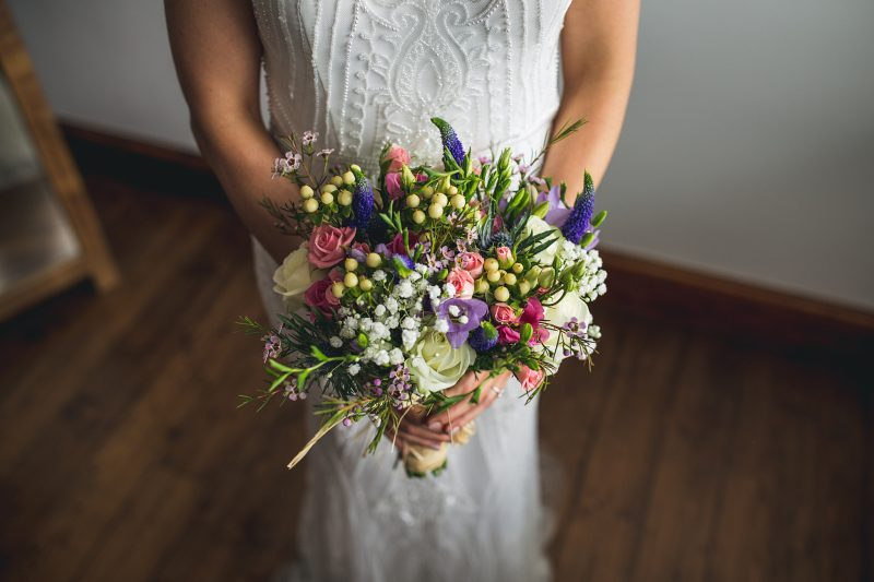 white purple pink green wild rustic wedding bouquet Andy Hudson Photography