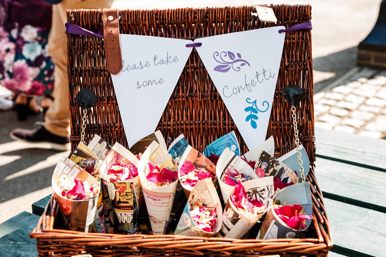 DIY-confetti-cones-wedding-basket-bunting