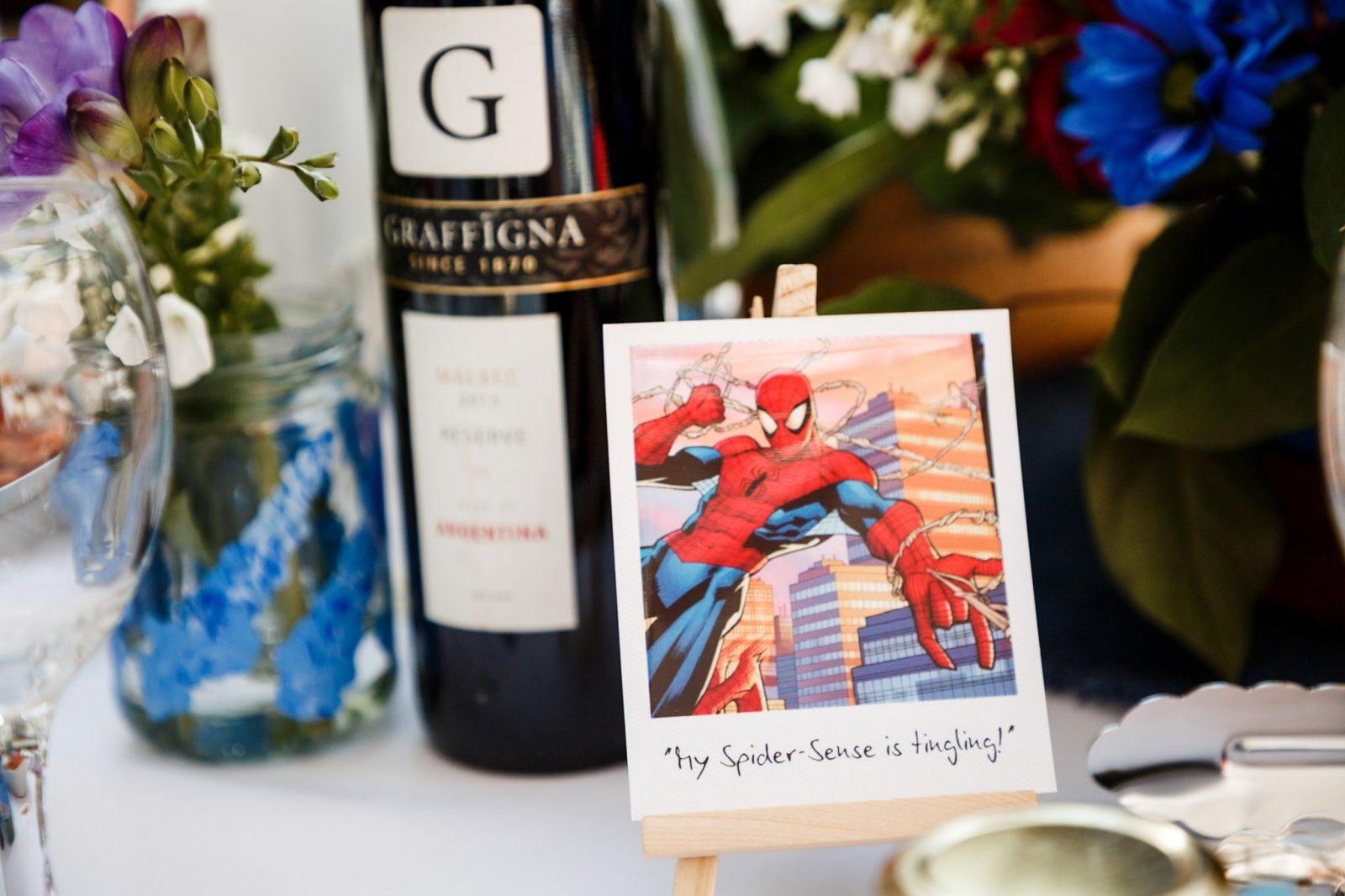 spiderman-table-number-wedding-marvel-theme