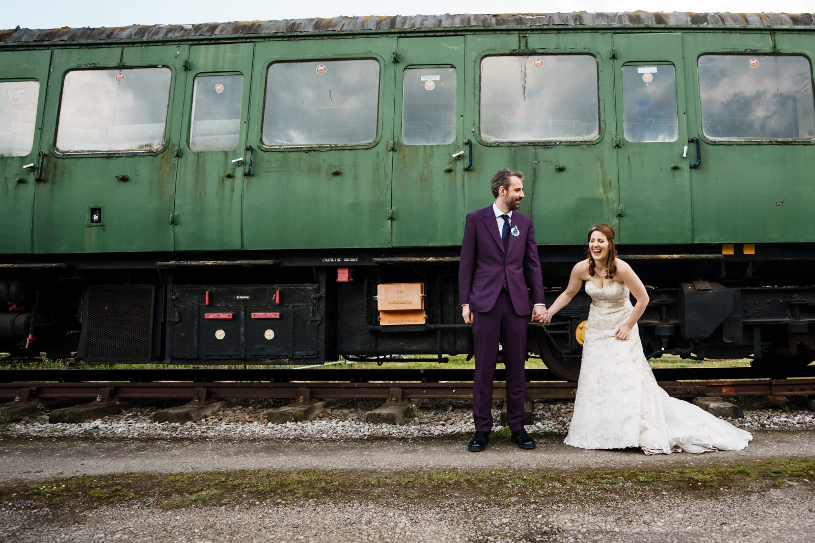 laughing-bride-green-vintage-train-Bucks-Railway-Centre