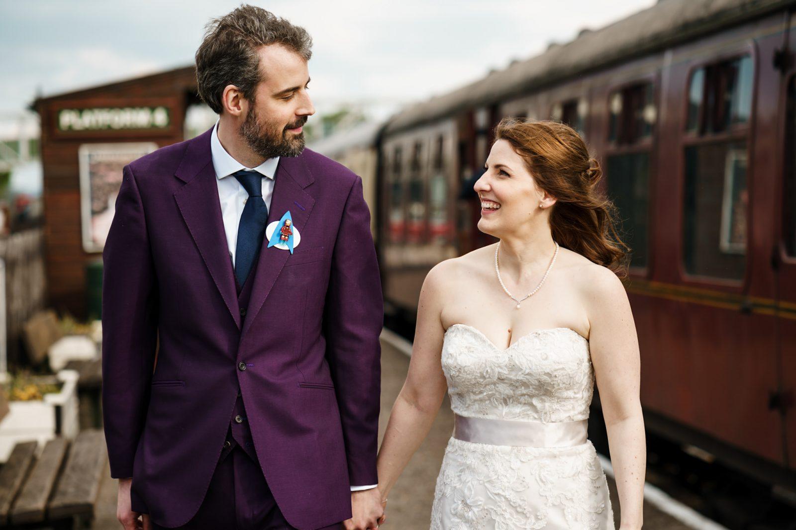Buckinghamshire-Railway-Centre-wedding-bride-groom-walking