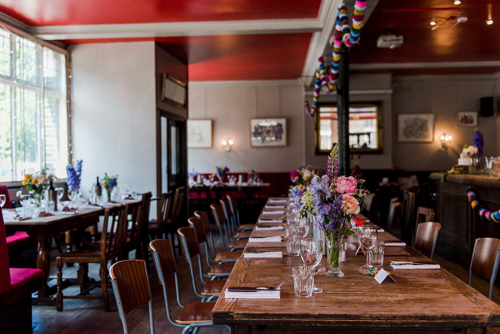 colourful london pub wedding-table decor