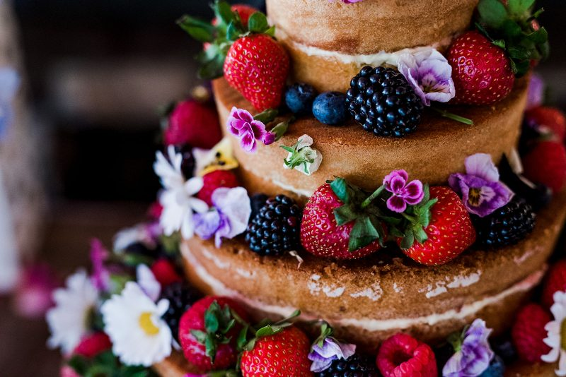 Waitrose naked wedding cake fruit flowers