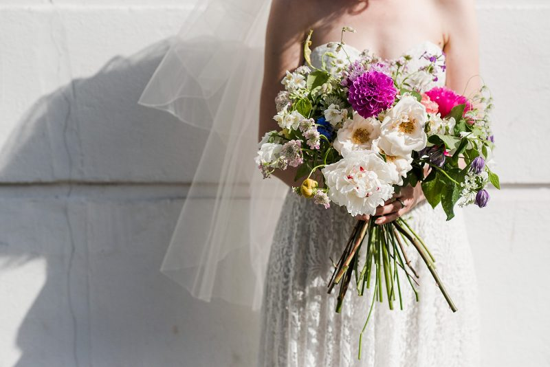 wedding bouquet peonies dahlias sweetpea