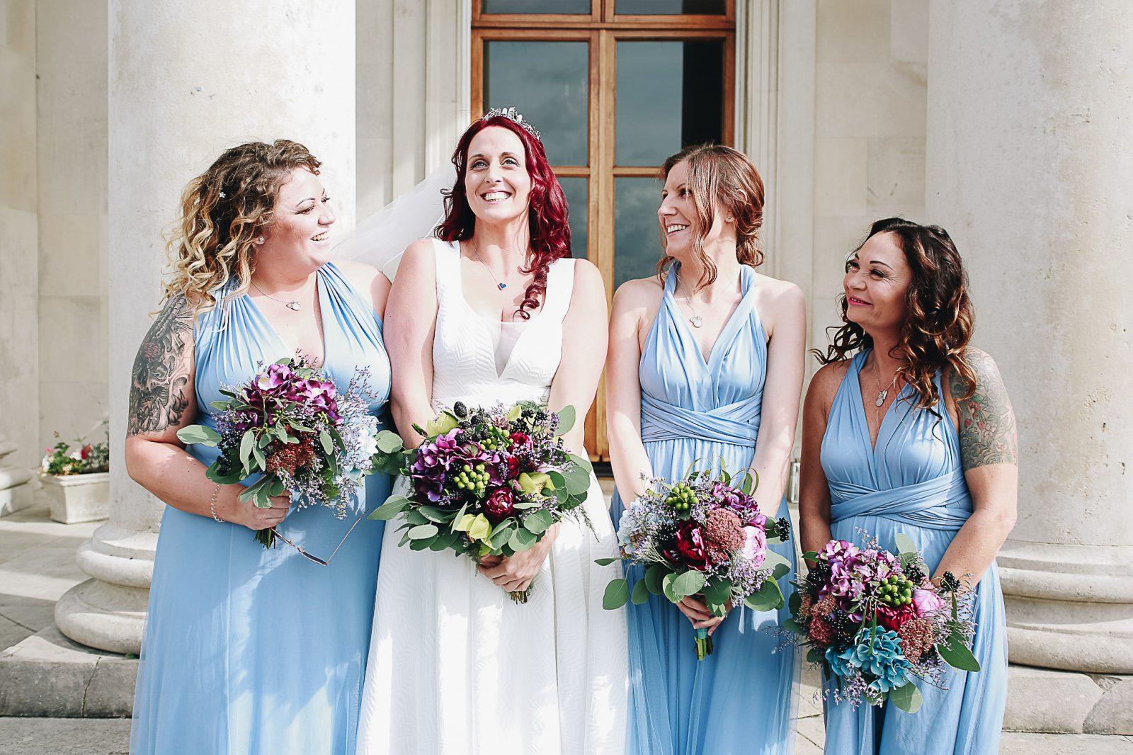 blue bridesmaid dress