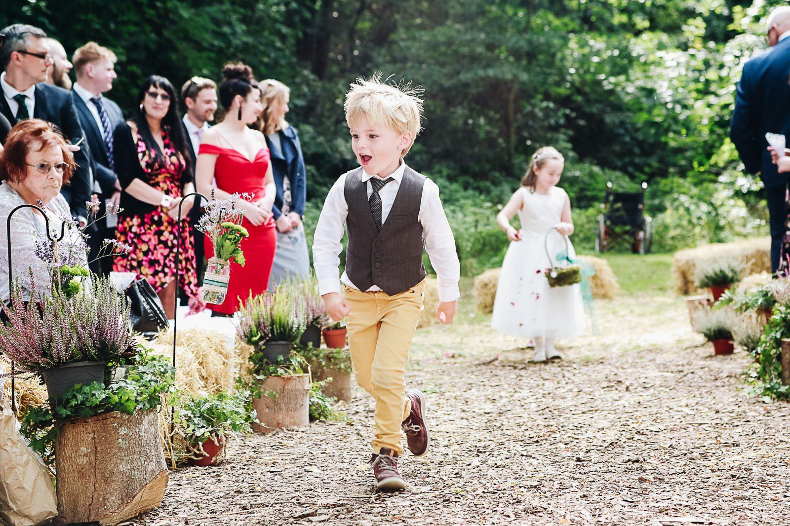 Page boy woodland wedding