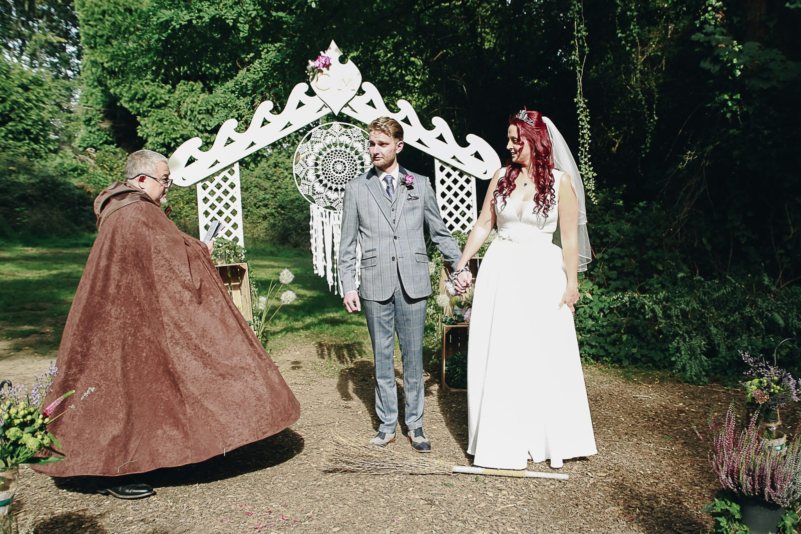 Woodland wedding wizard celebrant