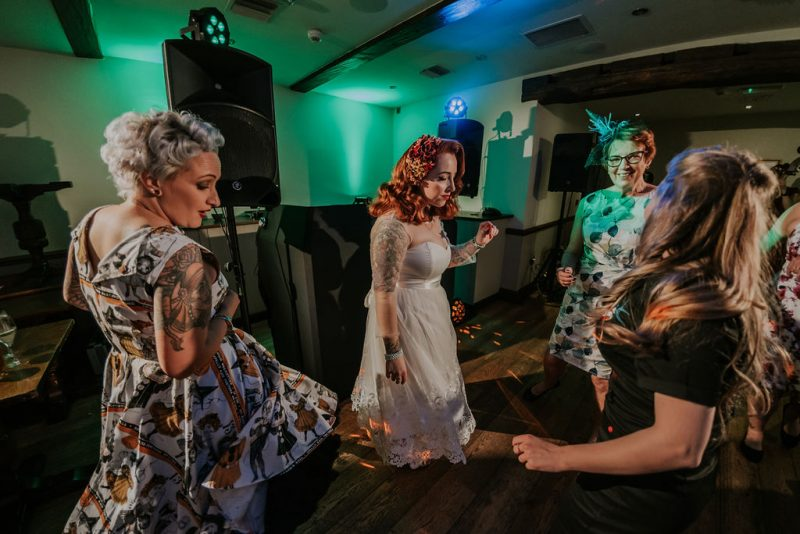 rockabilly bride dancing