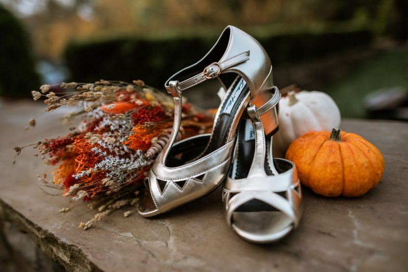 lulu hun gold shoes autumnal wedding