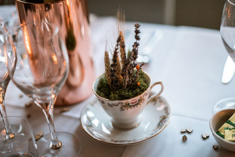 unusual wedding centrepiece teacup flowers