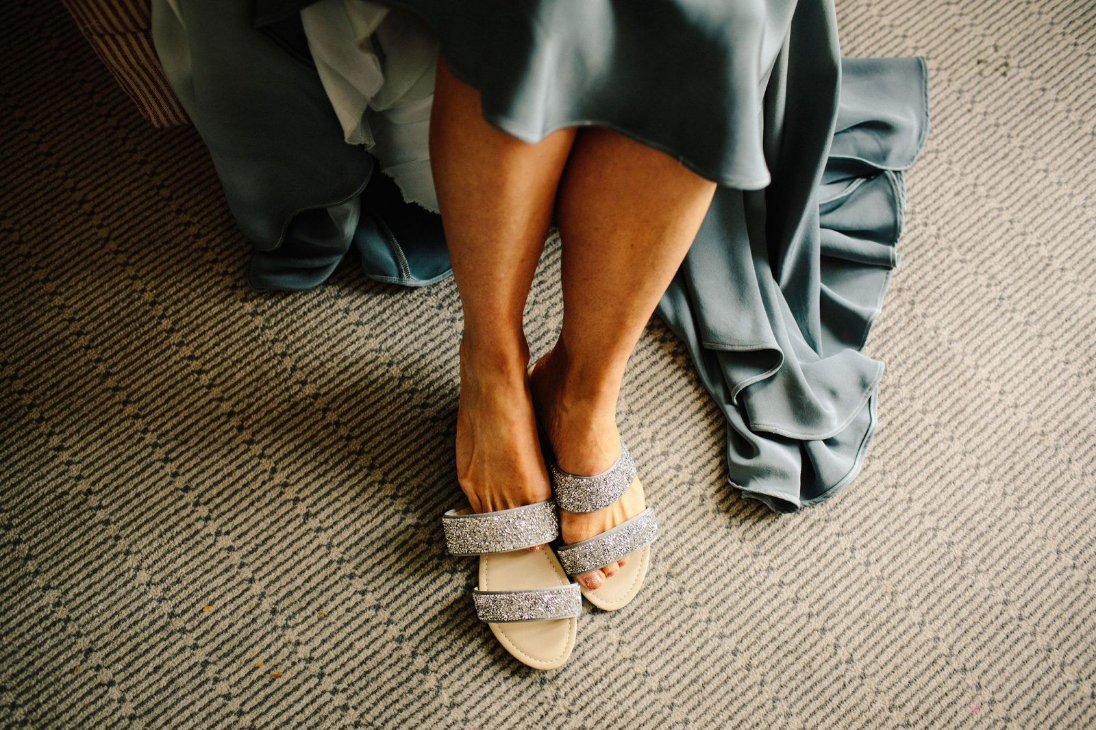 bride blue dyed hem wedding dress Dune shoes