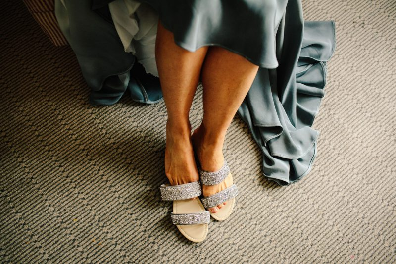 bride blue dyed hem wedding dress Dune shoes