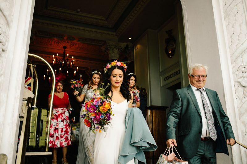 Bride colourful flower crown colourful bouquet
