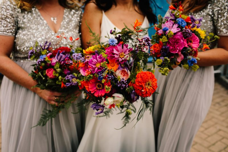 Brighton florist colourful wedding flowers