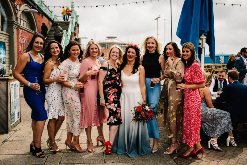 Bride friends colourful Brighton wedding