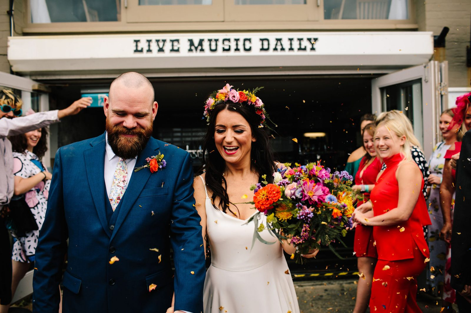 A colourful Brighton Music Hall Wedding with a dyed hem dress – Nat & Dan