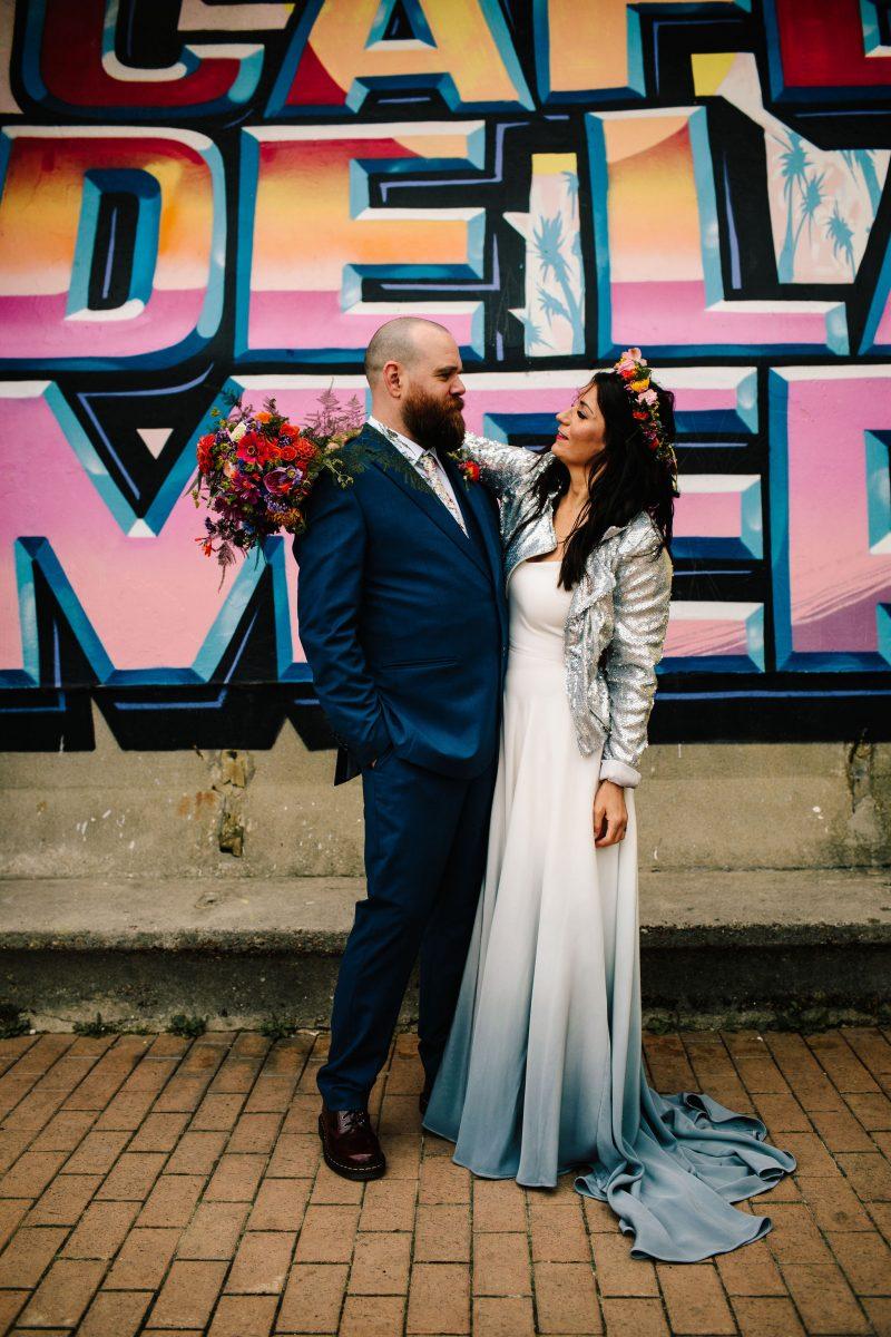 Colourful Brighton wedding dyed hem wedding dress