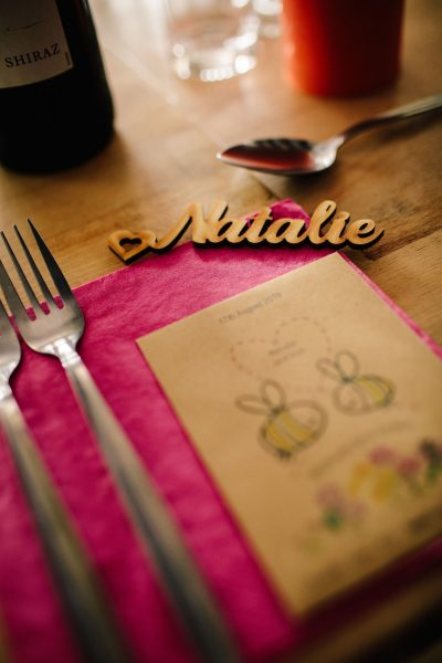 wooden place setting colourful Brighton wedding