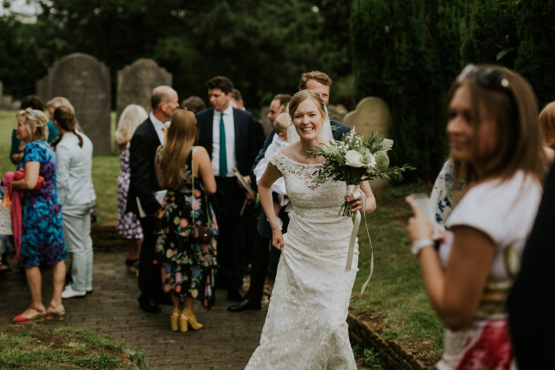 Happy bride English country garden wedding