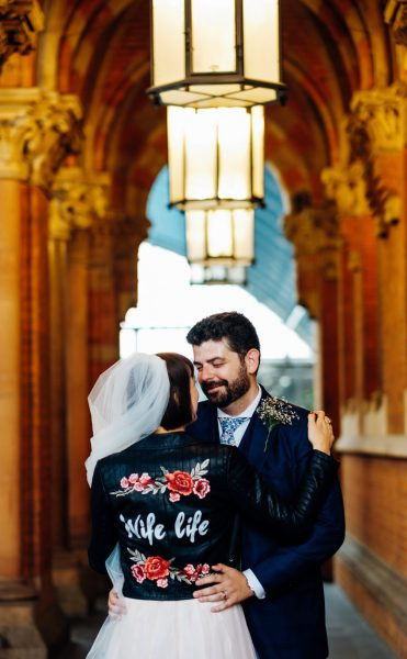 Wife life leather jacket with roses