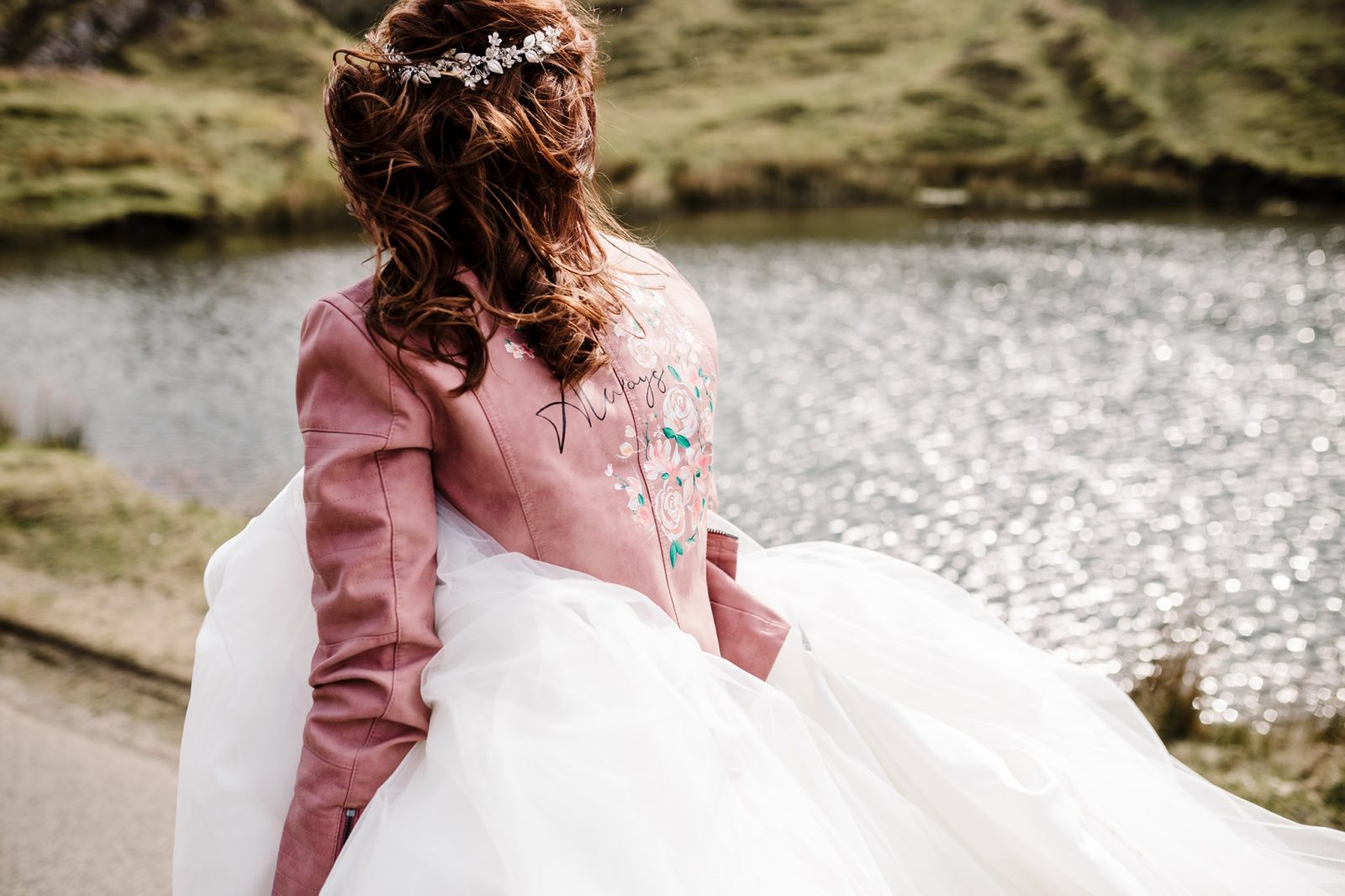 Pink leather bride jacket