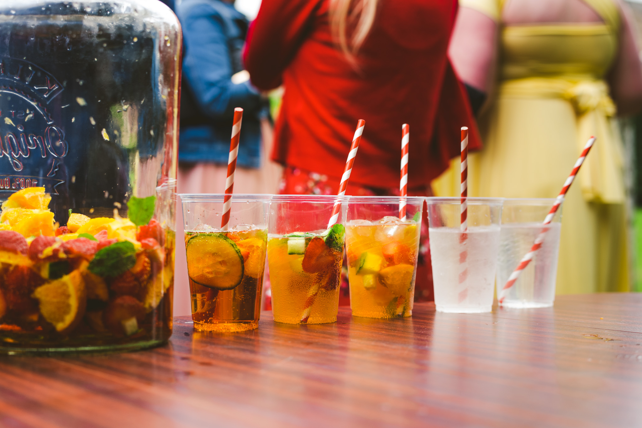 Pimms station at DIY Village Hall Wedding