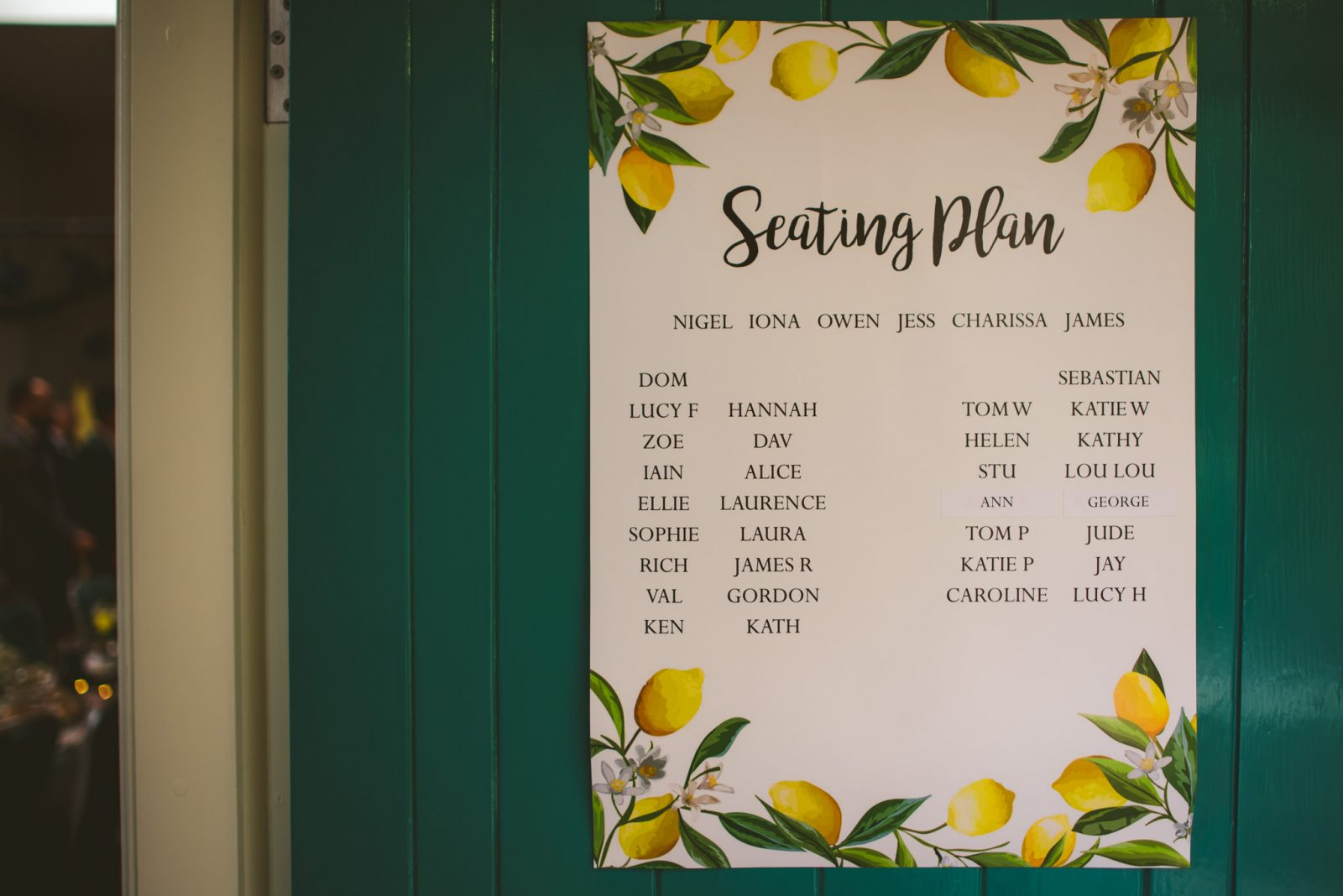 Seating plan yellow lemons